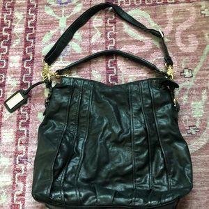 Badgley Mischka black leather Bucket Bag